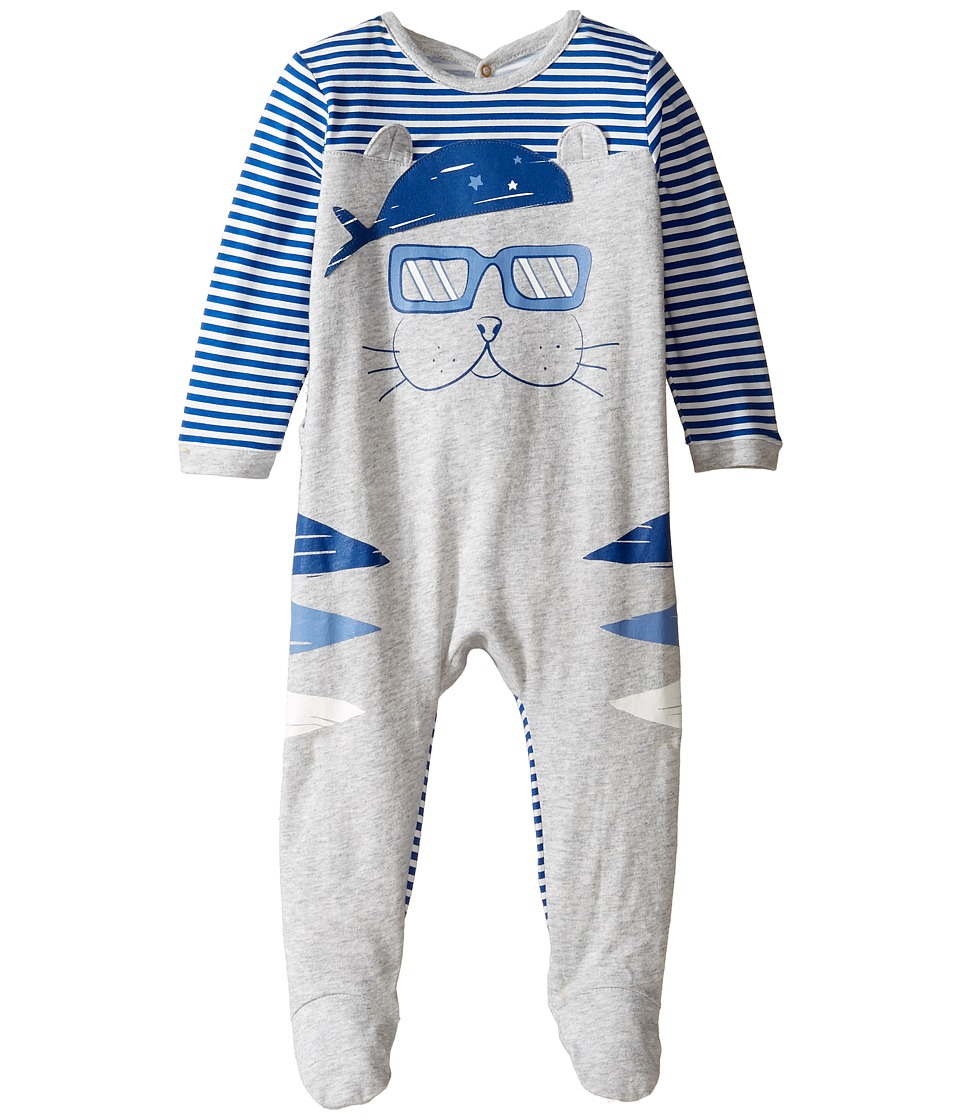 Little Marc Jacobs - Little Ears Details Footie Sold with Gift Box (Infant) (Gris/Bleu) Boy's Jumpsuit & Rompers One Piece