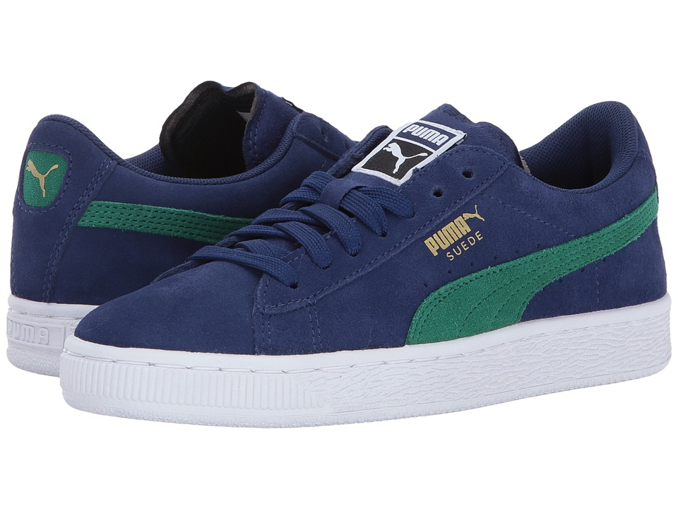 Puma Kids - Suede PS (Little Kid/Big Kid) (Blue Depths/Verdant Green) Girls Shoes