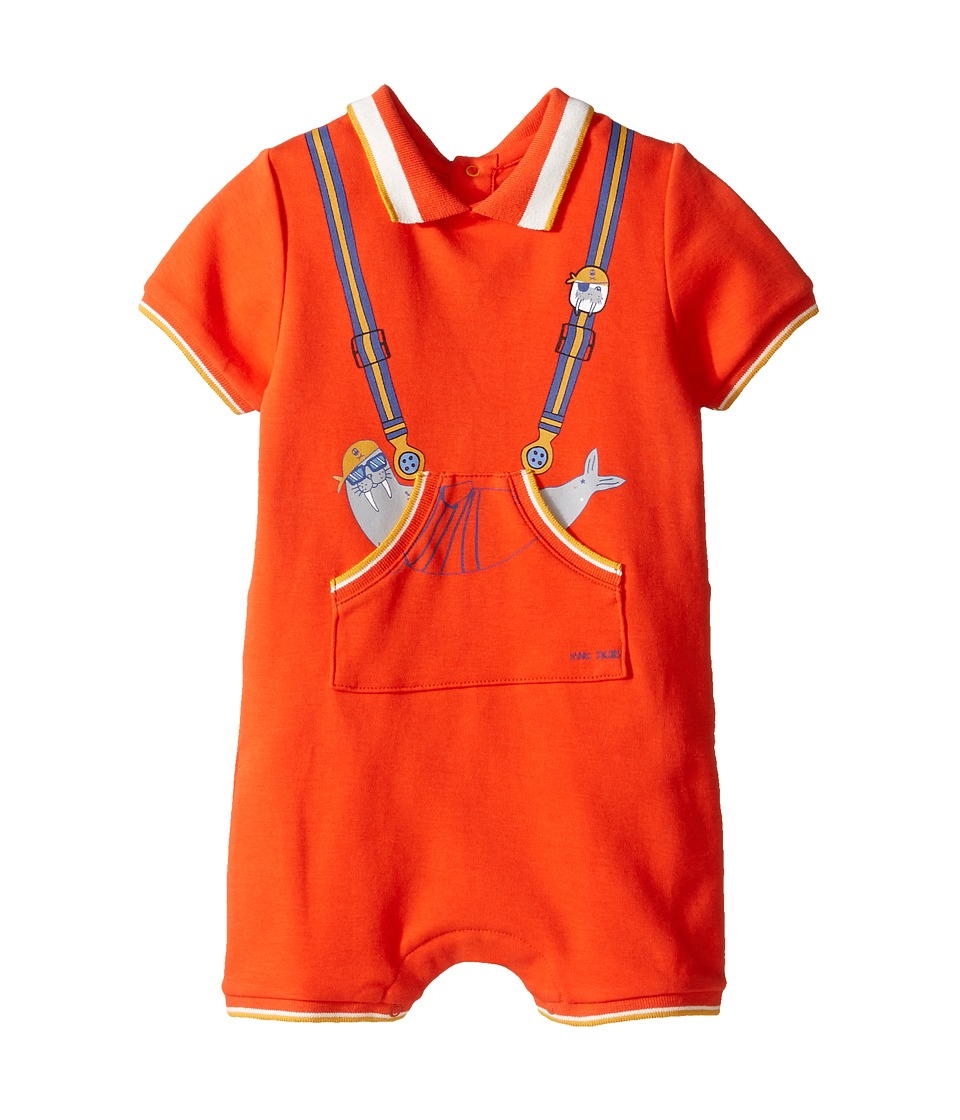 Little Marc Jacobs - Polo Style Romper with Cute Front Print (Infant) (Orange) Boy's Jumpsuit & Rompers One Piece