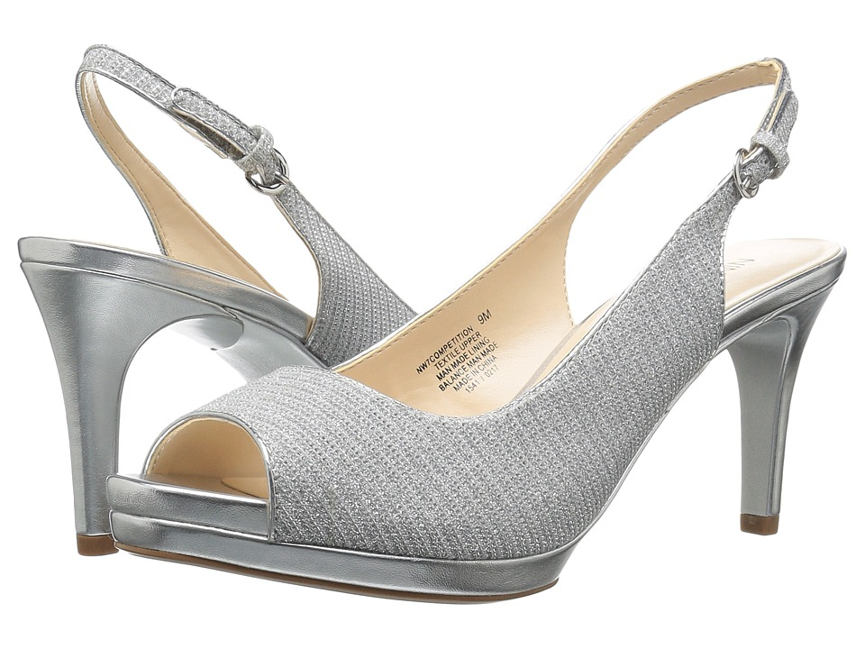 Nine West - Competition (White/Silver/Silver/Silver) Women's Shoes
