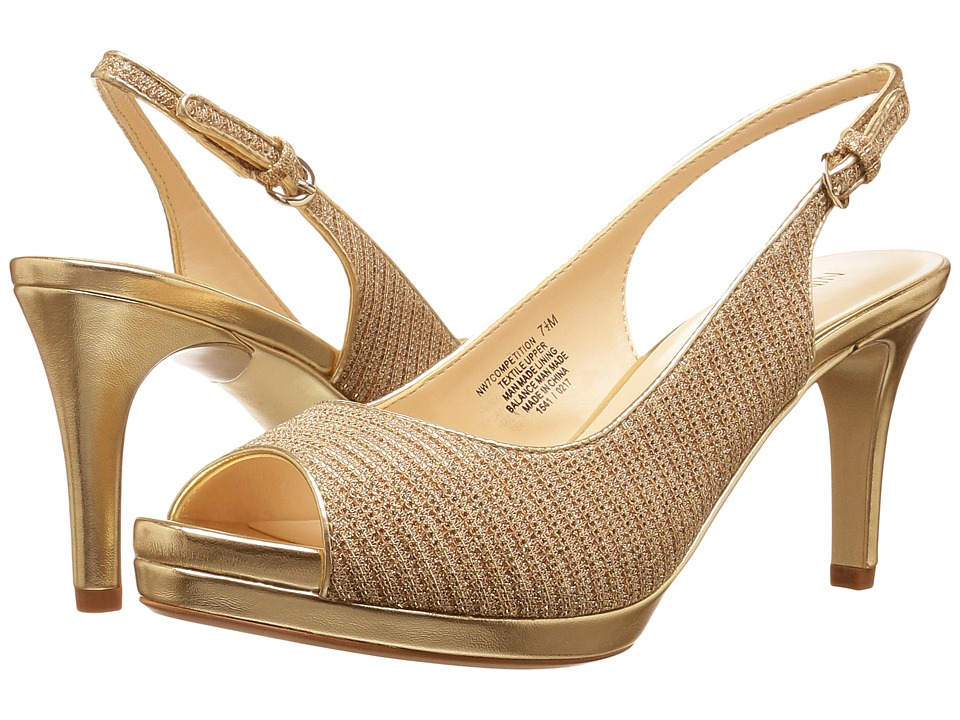 Nine West - Competition (White/Gold/Gold/Gold/Sand) Women's Shoes