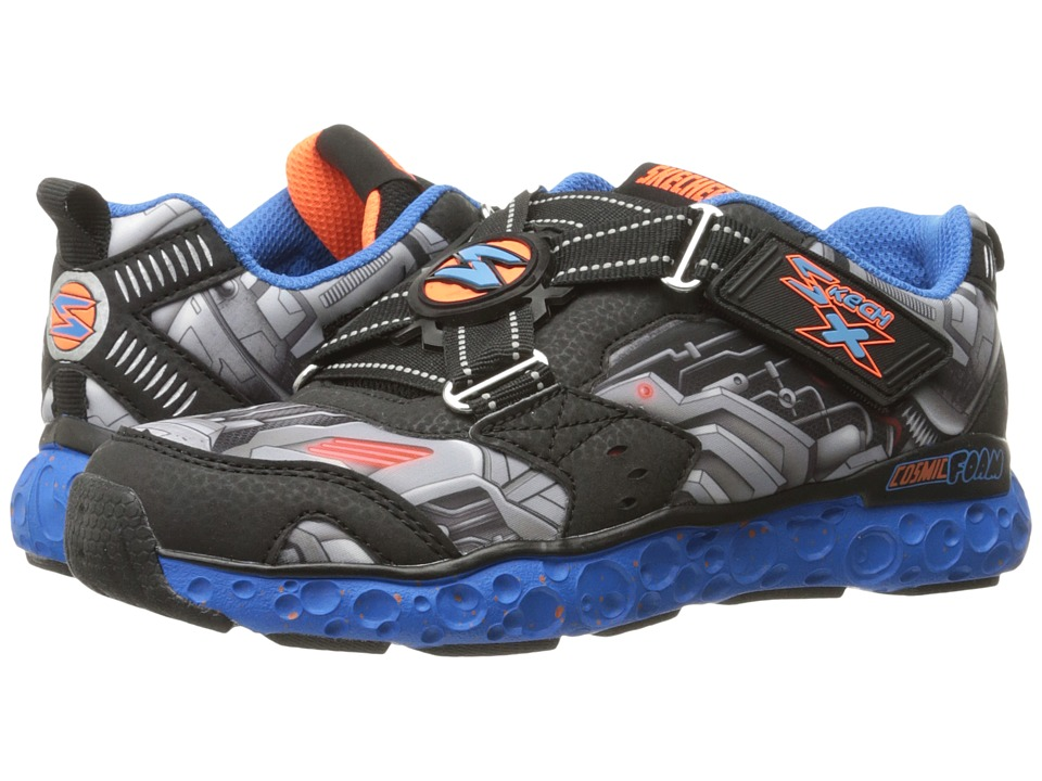 SKECHERS KIDS - Cosmic Foam Portal X 97502L (Little Kid/Big Kid) (Black/Blue/Orange) Boy's Shoes
