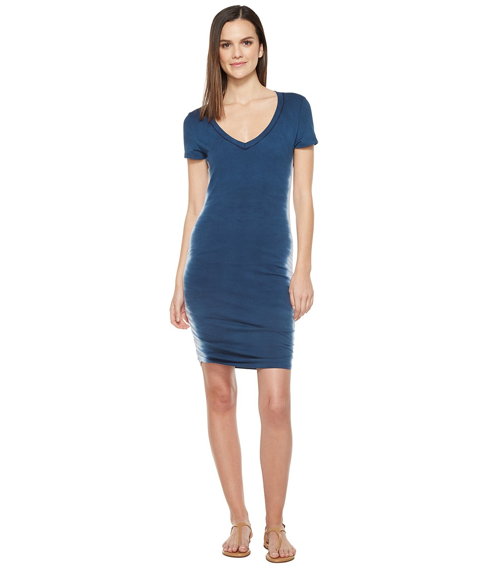 Michael Stars Flame Wash Short Sleeve Ruched Mini Dress (Nocturnal) Women