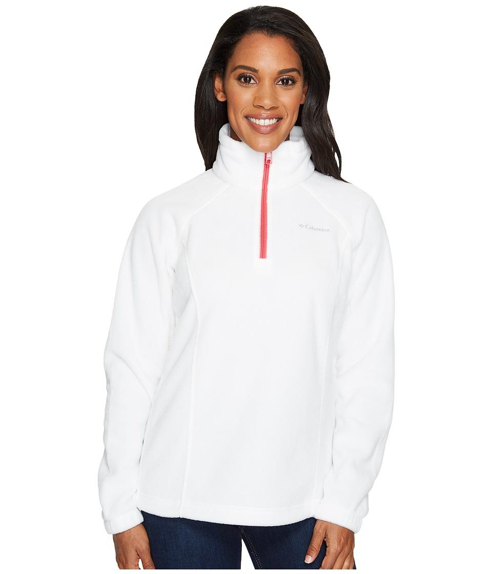 Columbia - Benton Springstm 1/2 Zip (Sea Salt/Punch Pink) Women's Long Sleeve Pullover