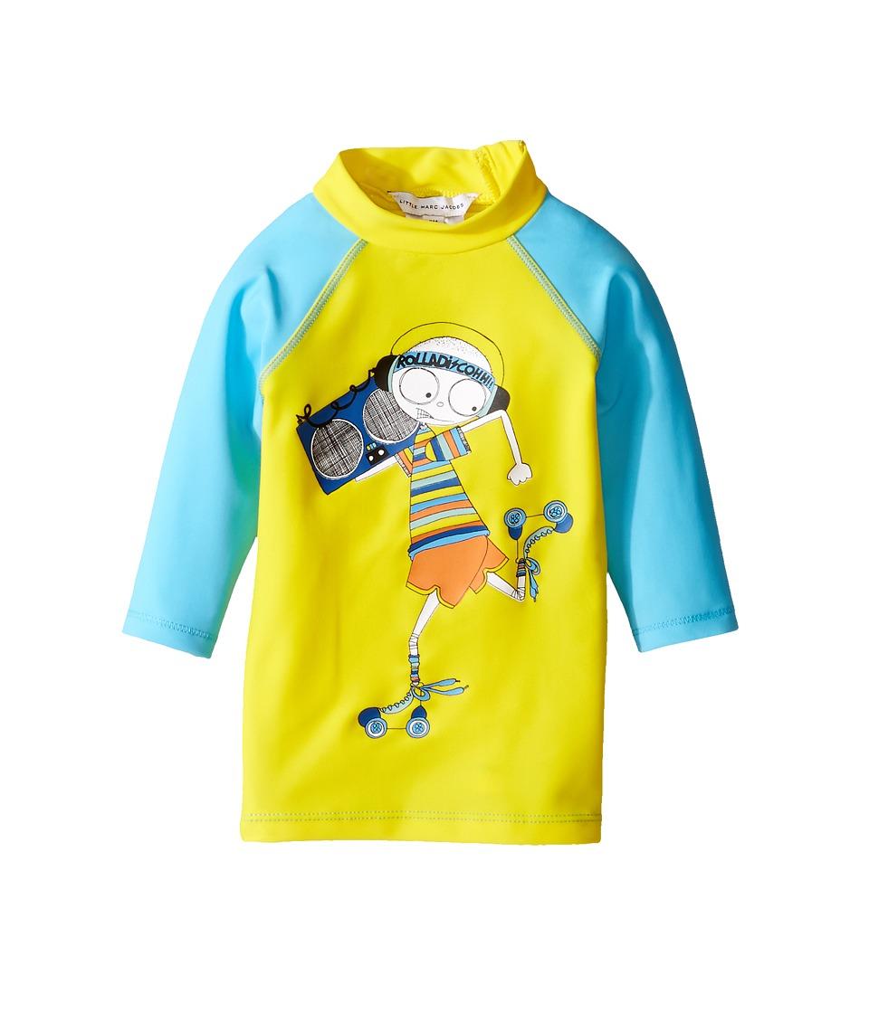 Little Marc Jacobs - Swimsuit Long Sleeve Tee Shirt (Infant) (Jaune/Bleu) Boy's Swimwear
