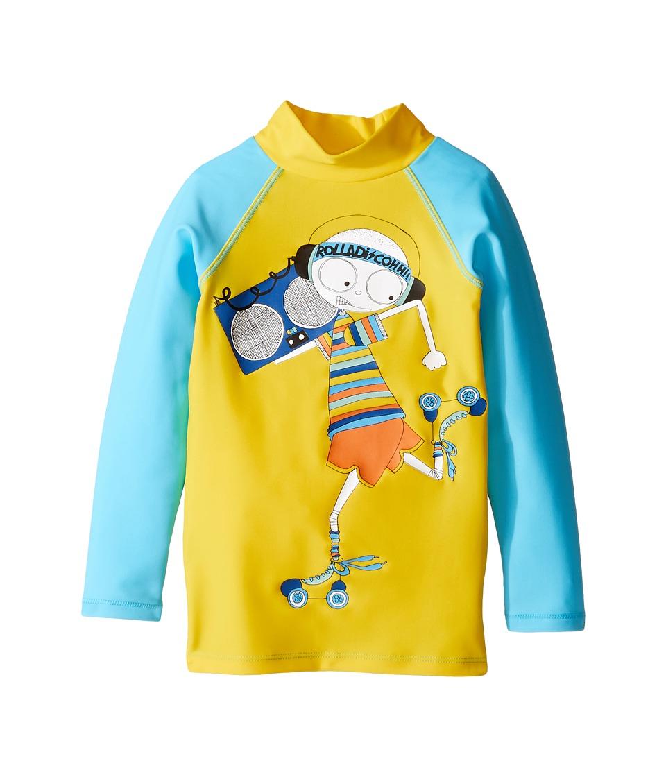 Little Marc Jacobs - Swimsuit Long Sleeve Tee Shirt (Toddler/Little Kids) (Jaune/Bleu) Boy's Swimwear