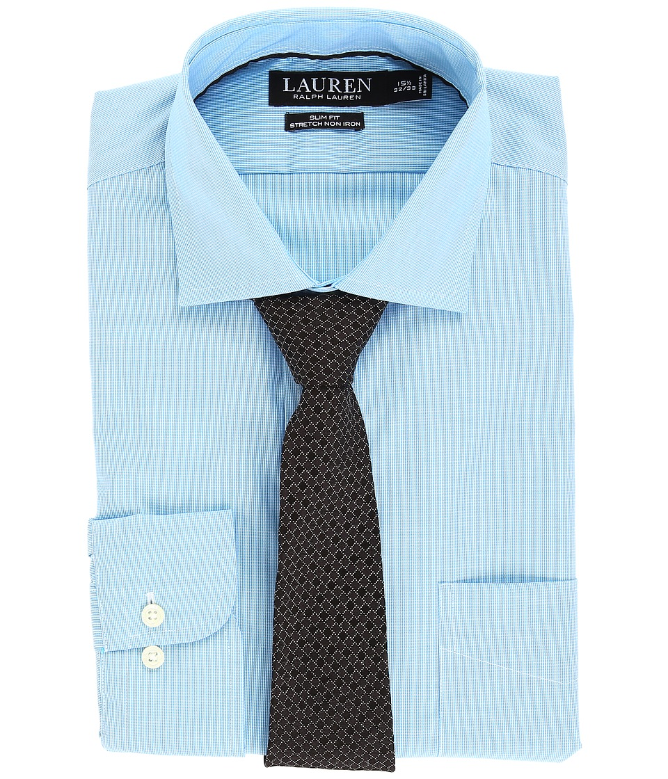 LAUREN Ralph Lauren - Non Iron Poplin Stretch Slim Fit Spread Collar Dress Shirt (Turquoise) Men's Clothing