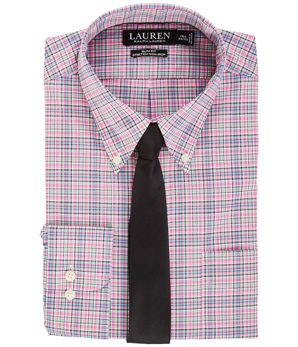 LAUREN Ralph Lauren - Non Iron Poplin Slim Button Down Collar Plaid Dress Shirt (Pink Peony) Men's Clothing