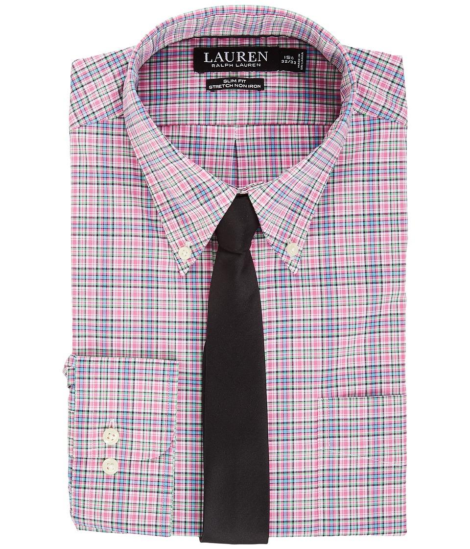 LAUREN Ralph Lauren - Non Iron Poplin Slim Button Down Collar Plaid Dress Shirt (Pink Peony) Men's Clothing