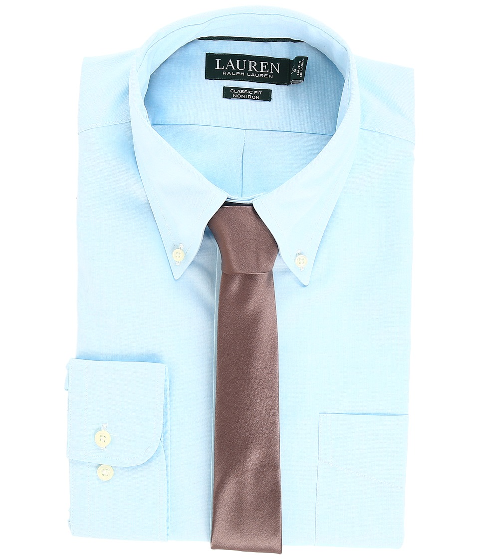 LAUREN Ralph Lauren - Non Iron Pinpoint Classic Fit Button Down Collar Dress Shirt (Aqua/White) Men's Clothing