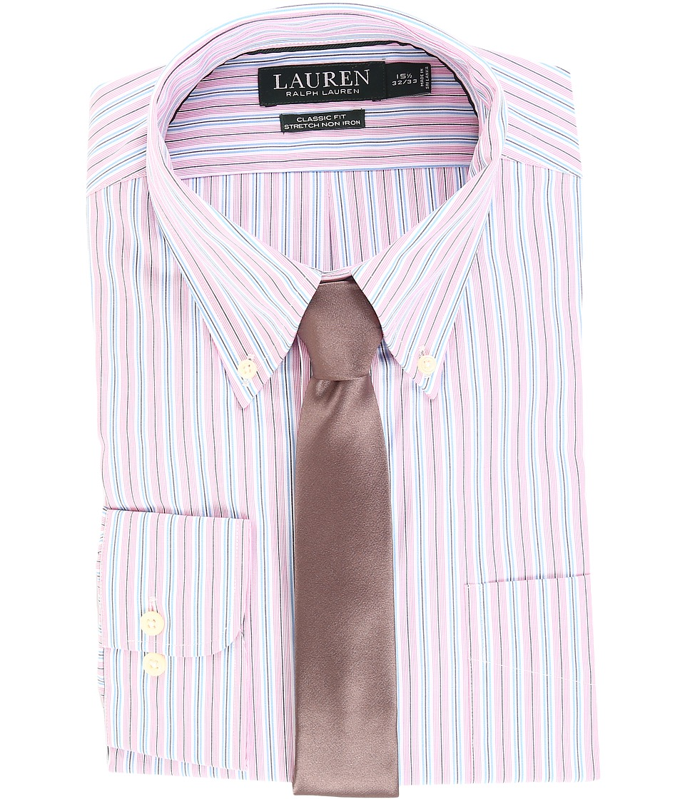 LAUREN Ralph Lauren - Non Iron Poplin Stretch Classic Fit Button Down Collar Stripe Dress Shirt (Pink Peony) Men's Clothing