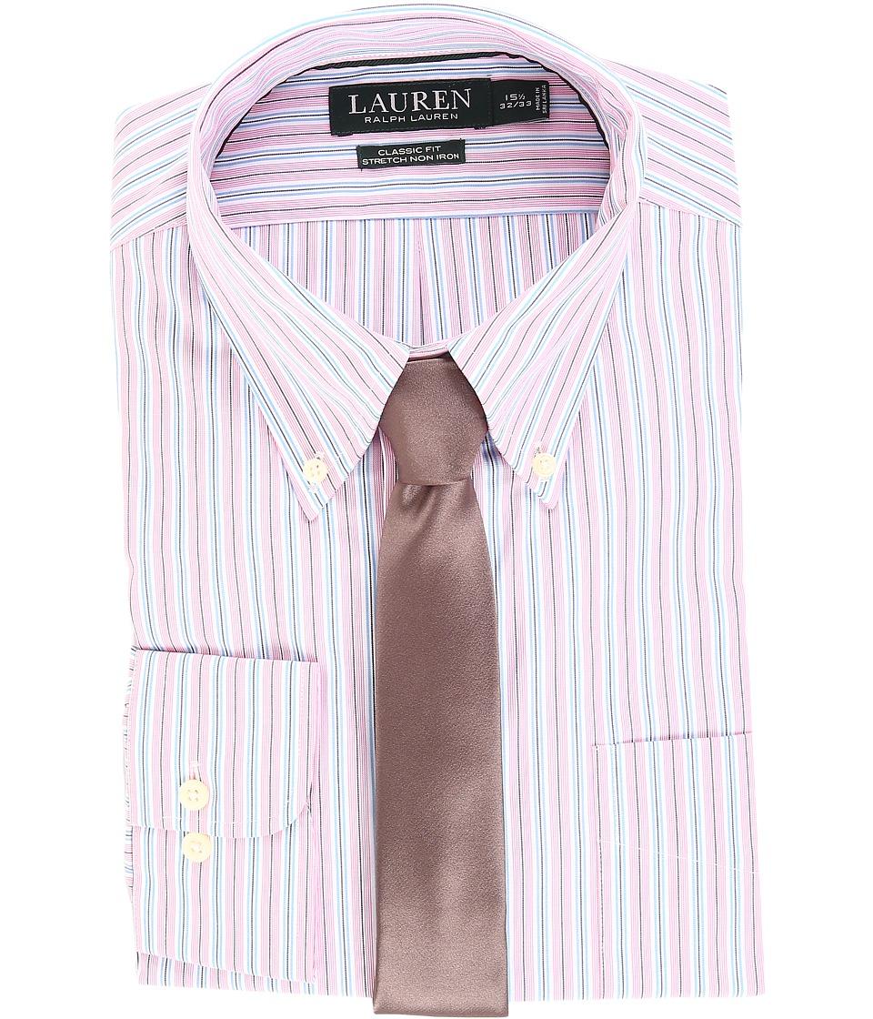 LAUREN Ralph Lauren - Non Iron Poplin Stretch Classic Fit Button Down Collar Stripe Dress Shirt (Pink Peony) Men's Clothing