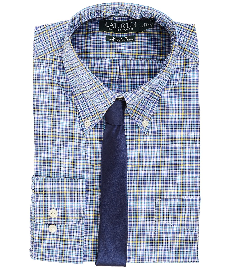 LAUREN Ralph Lauren - Non Iron Poplin Stretch Classic Fit Button Down Collar Stripe Dress Shirt (Trindad Blue) Men's Clothing