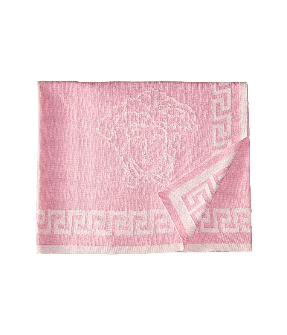 Versace Kids - Knit Medusa Blanket w/ Greca Border (Pink) Accessories Travel