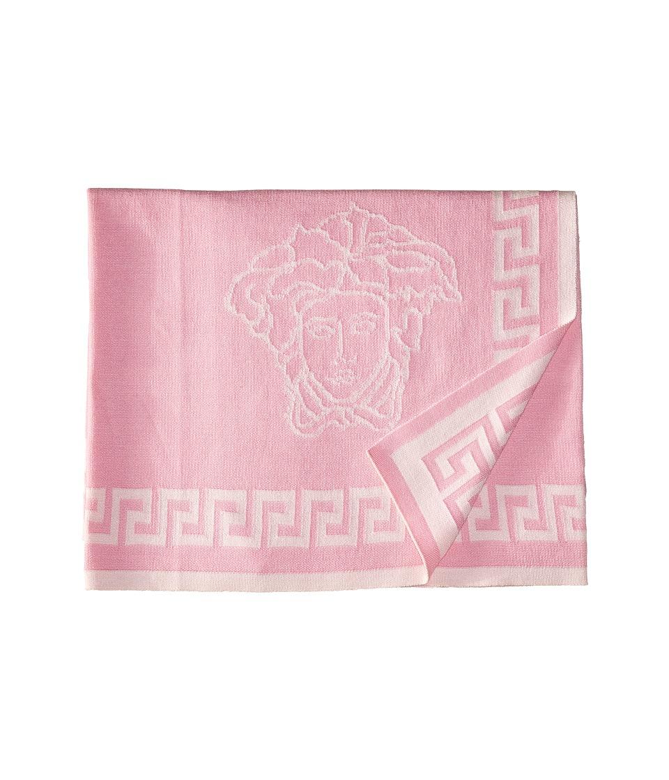 Versace Kids - Knit Medusa Blanket w/ Greca Border (Pink) Accessories Travel