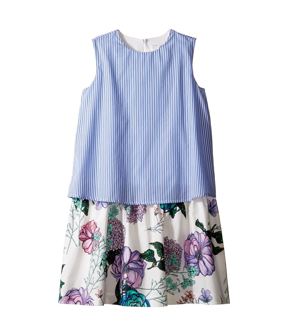 Versace Kids Layered Striped Floral Print Dress