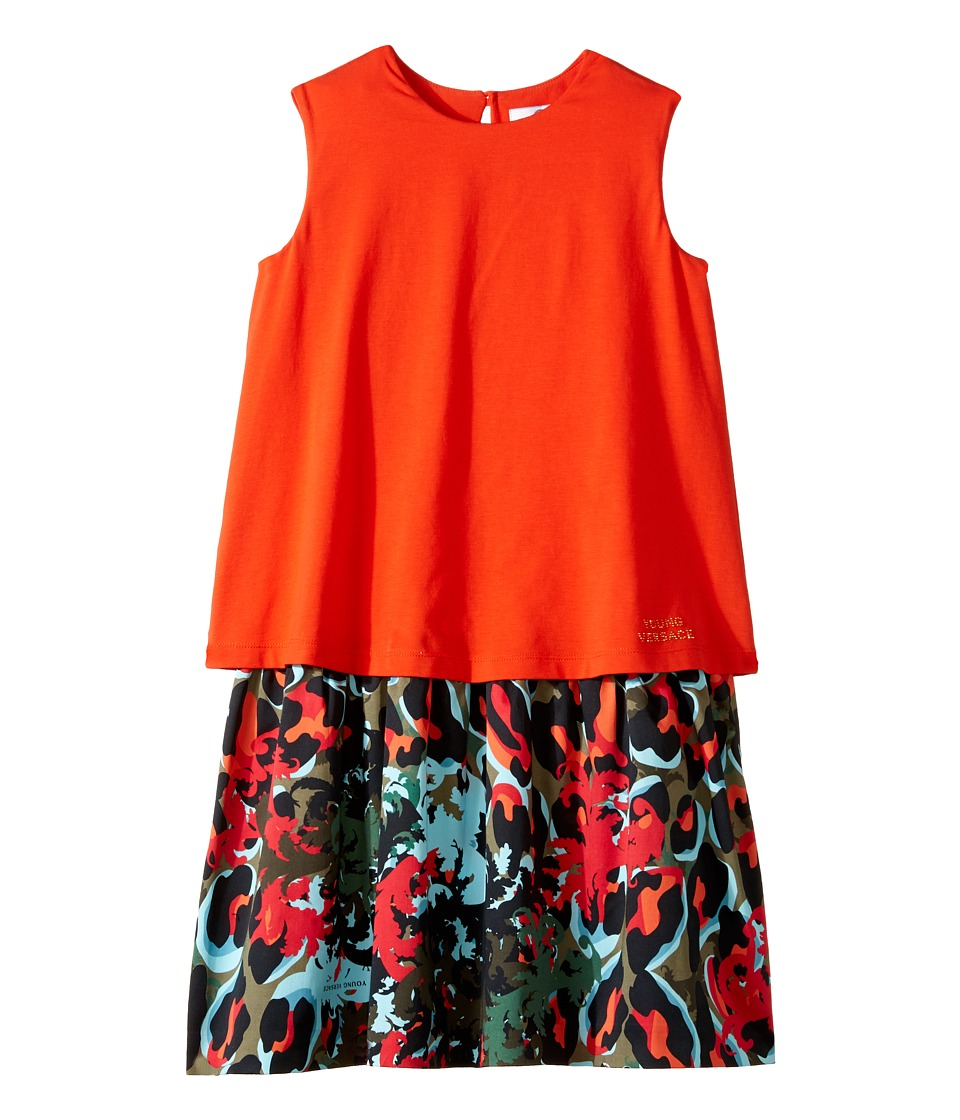 Versace Kids - Layered Dress w/ Animal Print Skirt (Big Kids) (Orange/Multi) Girl's Dress