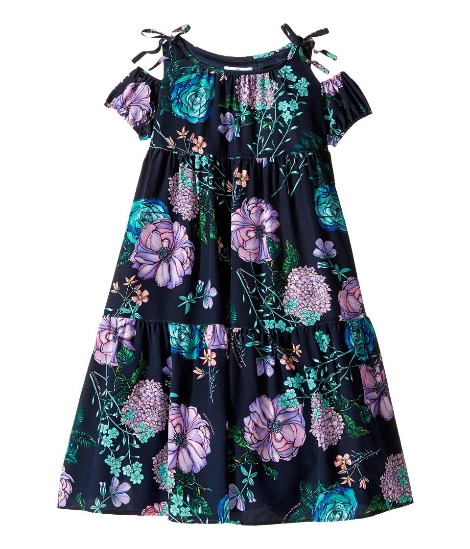 Versace Kids - Floral Print Maxi Dress w/ Shoulder Cut Outs (Big Kids) (Blue/Multi) Girl's Dress