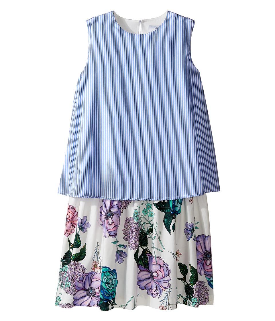 Versace Kids - Layered Striped Floral Print Dress (Big Kids) (Multi) Girl's Dress