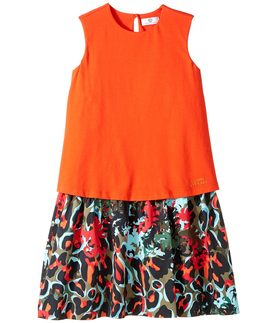 Versace Kids - Layered Dress w/ Animal Print Skirt (Big Kids) (Orange/Multi) Girl's Dress