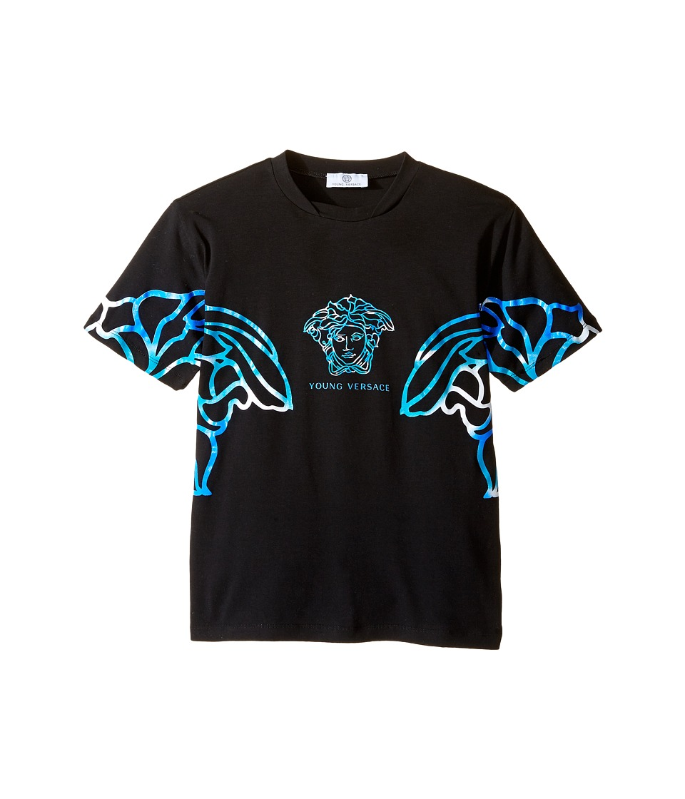 Versace Kids - Short Sleeve Multicolored Medusa T-Shirt (Big Kids) (Black/Multi) Boy's T Shirt