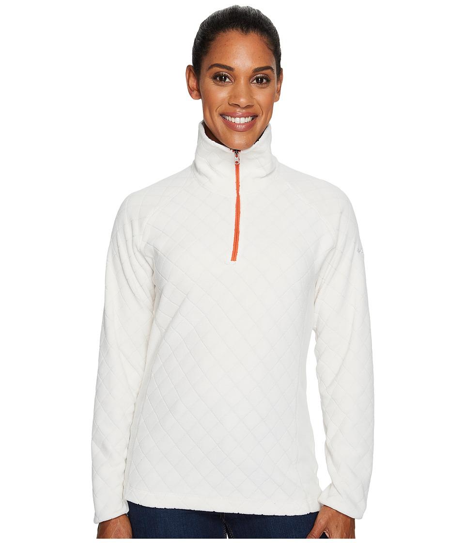 Columbia - Glacial Fleece III Print Half Zip Top (Chalk Diamond Quilt Print/Hot Pepper) Women's Long Sleeve Pullover