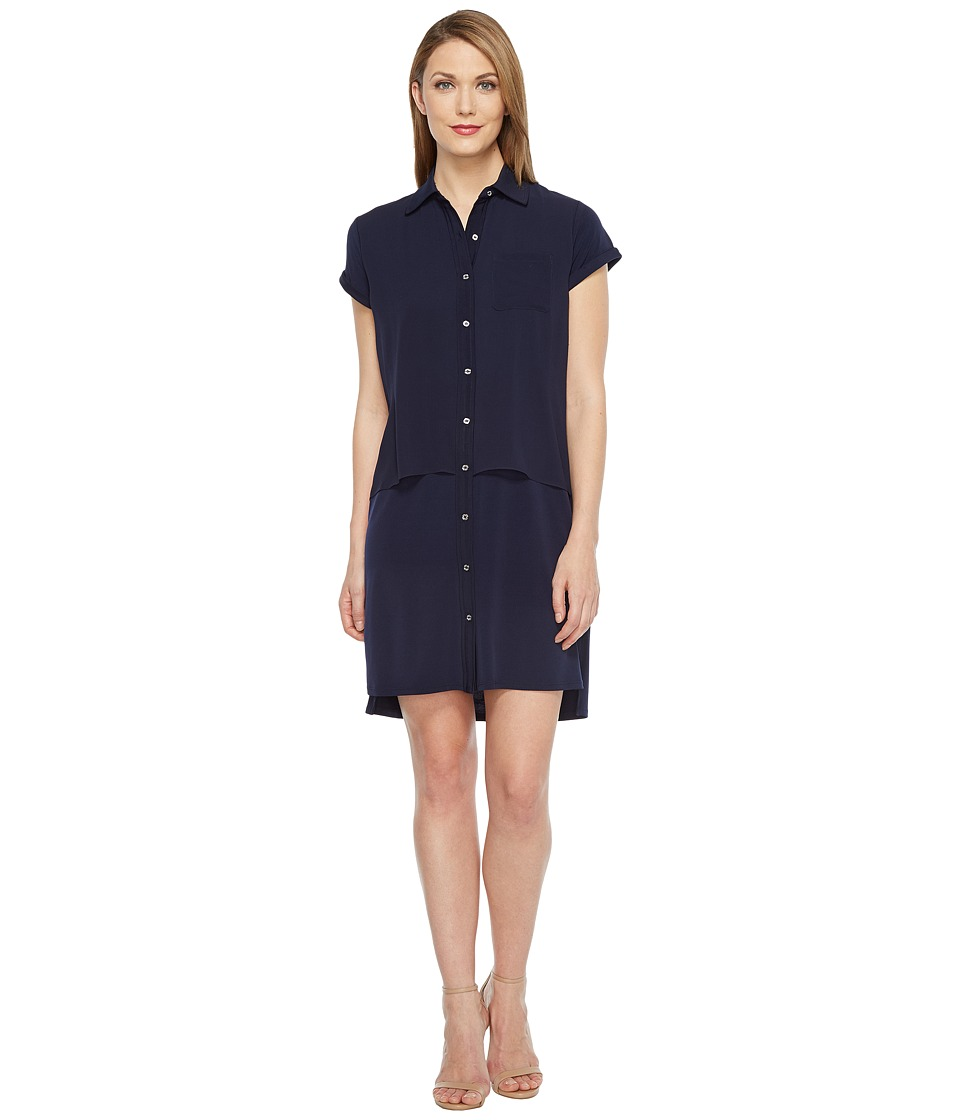 Calvin Klein - Double Layer Chiffon T-Shirt Dress (Twilight) Women's Dress