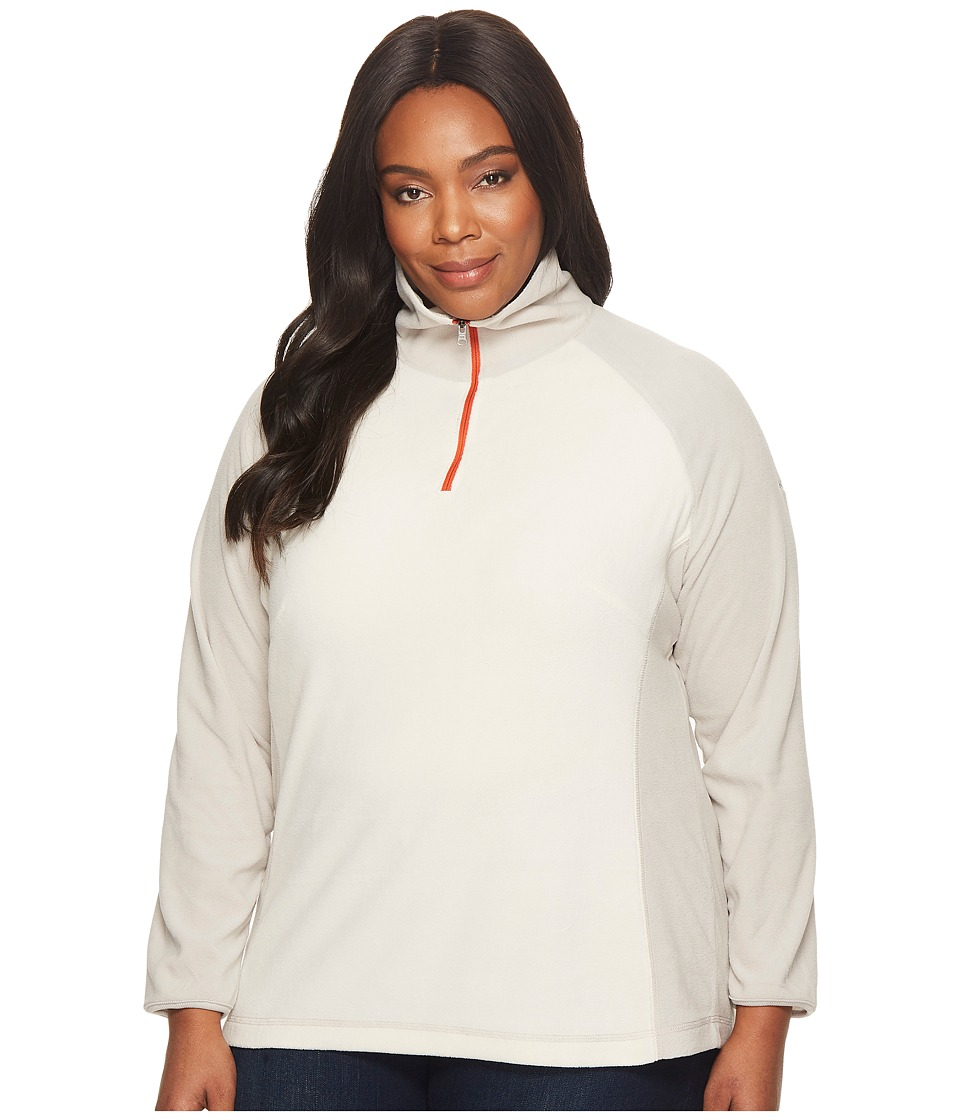 Columbia - Plus Size Glacialtm Fleece III 1/2 Zip (Chalk/Light Cloud/Hot Pepper) Women's Fleece