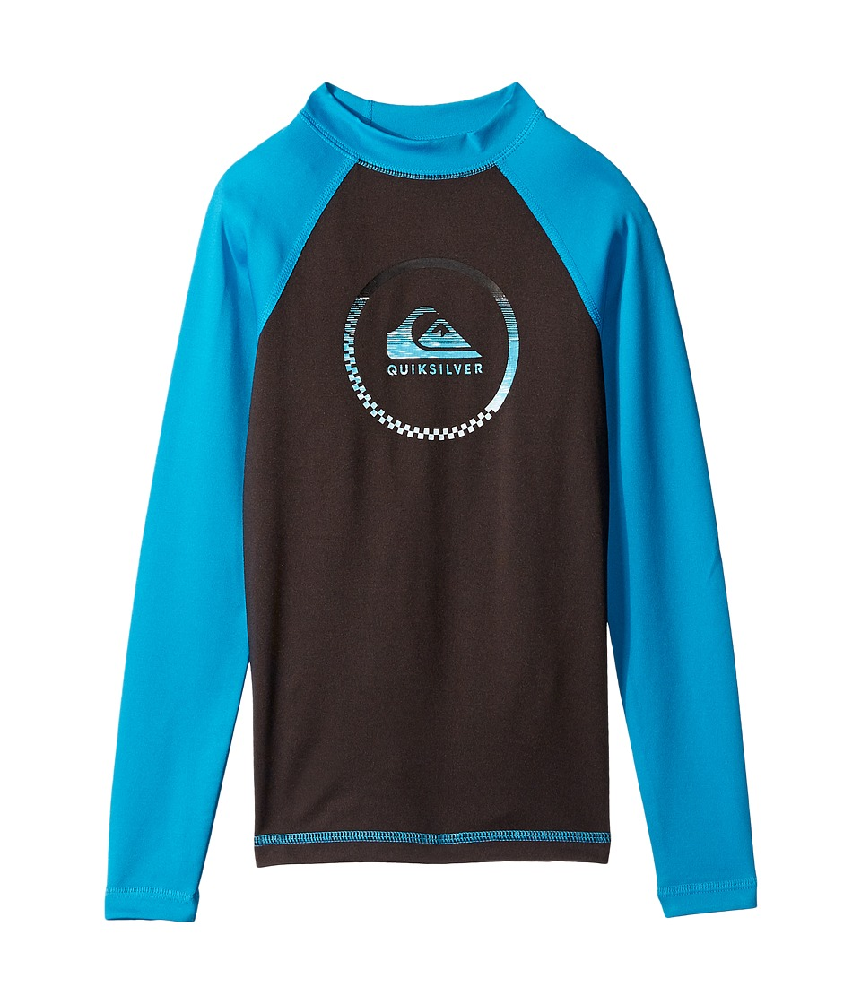 Quiksilver Kids - Active Long Sleeve Rashguard (Big Kids) (Tarmac/Blue Danube) Boy's Swimwear