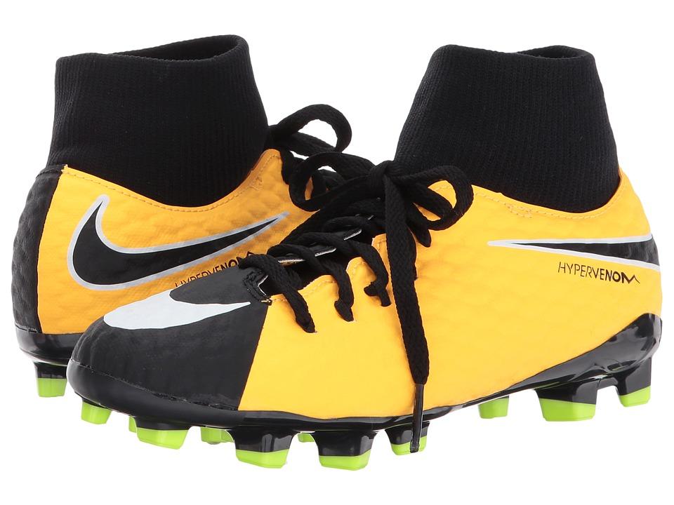 Nike Kids Hypervenom Phelon III Dynamic Fit FG Soccer Boot (Little Kid/Big Kid) (Laser Orange/Black/White/Volt) Kids Shoes
