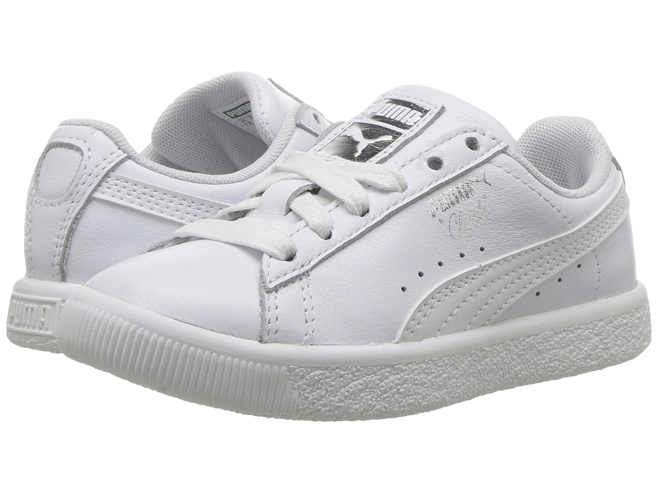 Puma Kids Clyde Core L Foil (Little Kid/Big Kid) (Puma White/Puma White) Boys Shoes