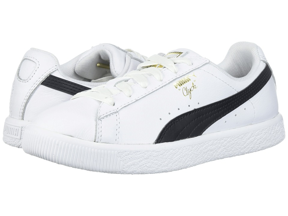 Puma Kids Clyde Core L Foil (Little Kid/Big Kid) (Puma White/Puma Black) Boys Shoes