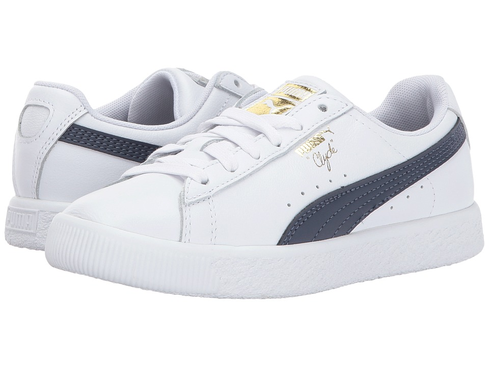 Puma Kids Clyde Core L Foil (Little Kid/Big Kid) (Puma White/Puma New Navy) Boys Shoes