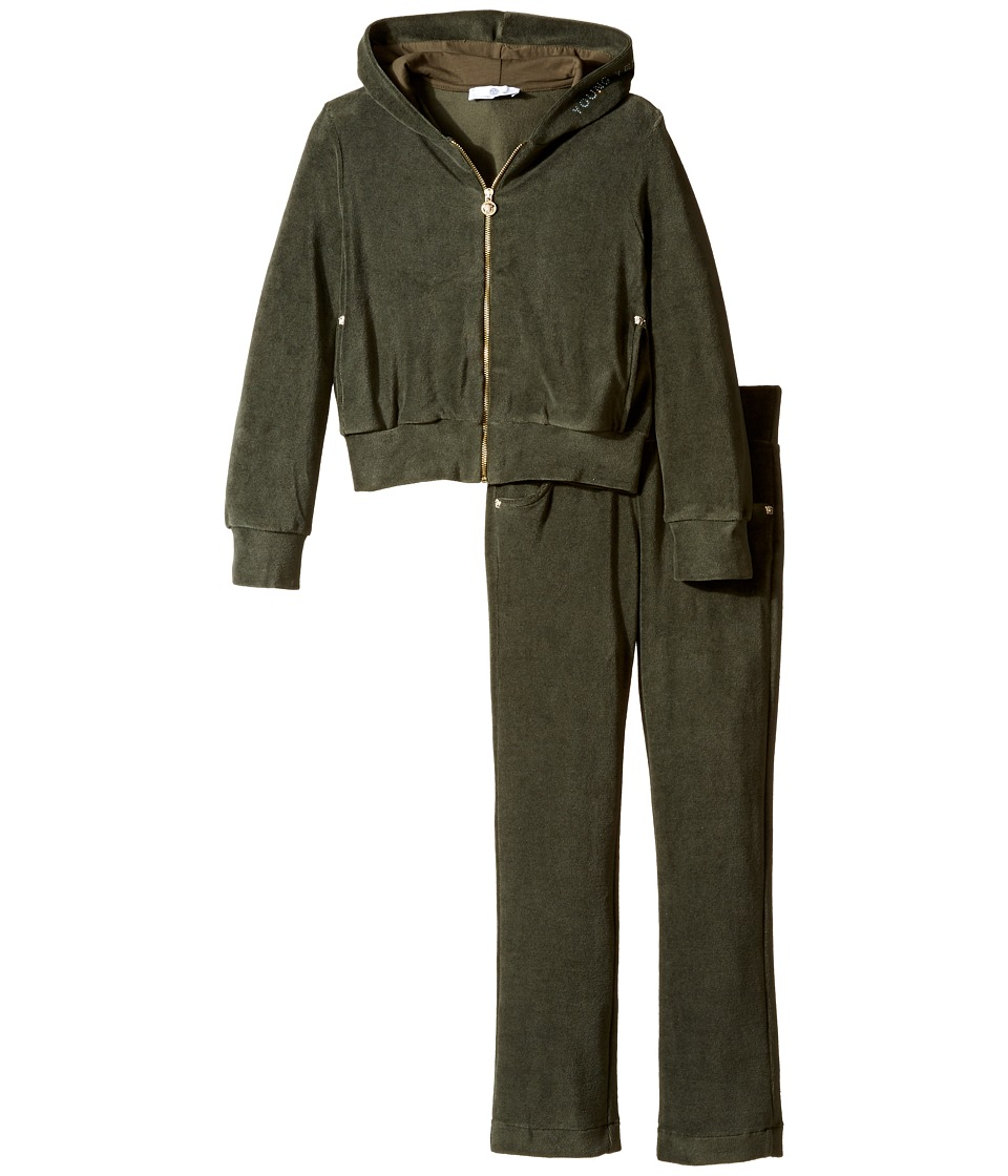 Versace Kids - Velour Track Suit w/ Embellished Medusa Logo (Big Kids) (Green/Navy) Girl's Suits Sets