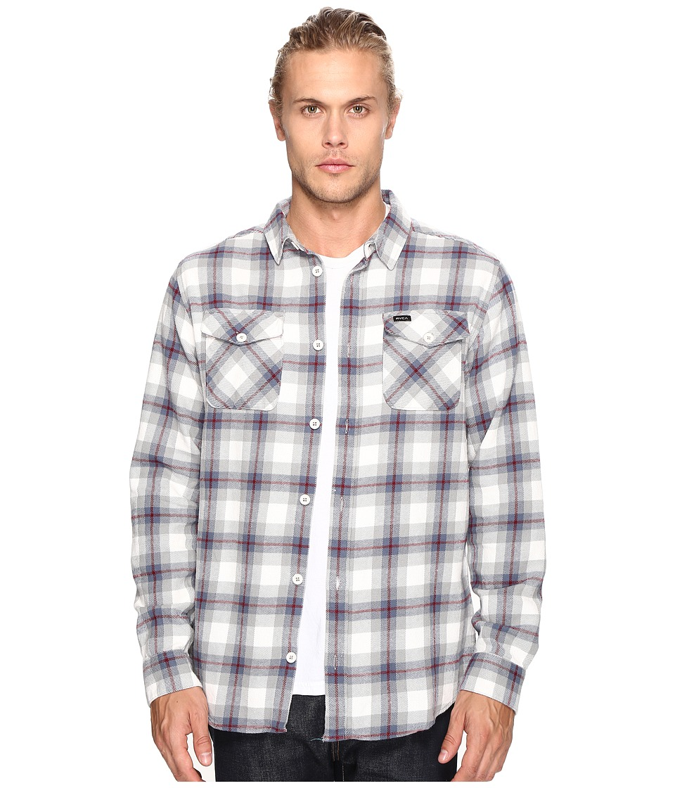 RVCA - That'll Work Flannel Long Sleeve (Antique White) Men's Clothing