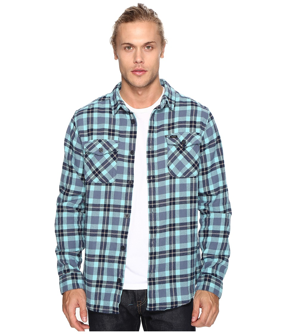 RVCA - That'll Work Flannel Long Sleeve (Nile Blue) Men's Clothing