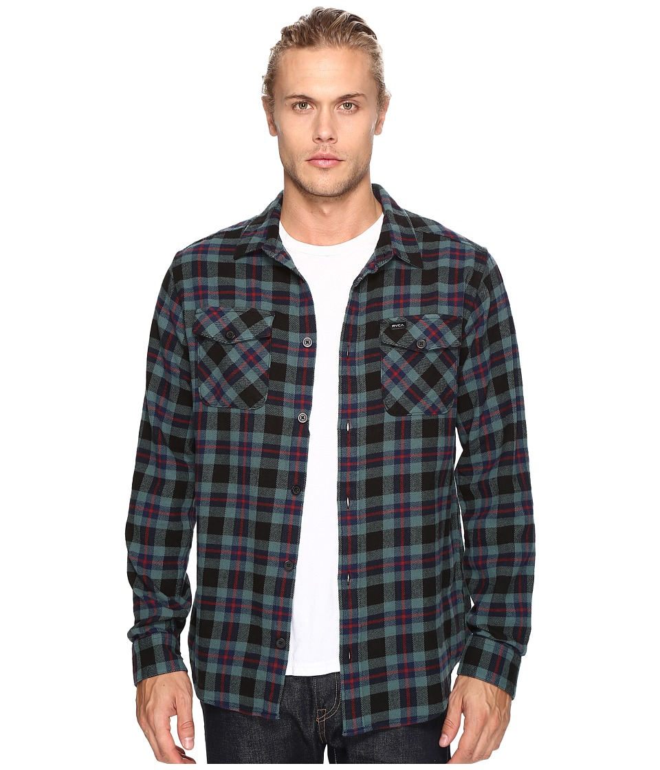 RVCA - That'll Work Flannel Long Sleeve (Pirate Black) Men's Clothing