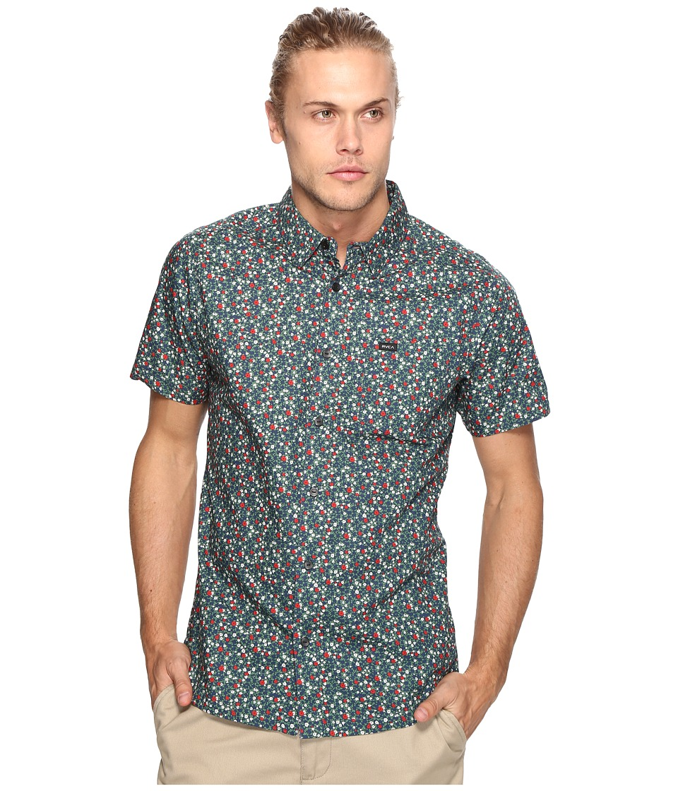 RVCA - Top Poppy Short Sleeve (Federal Blue) Men's Clothing