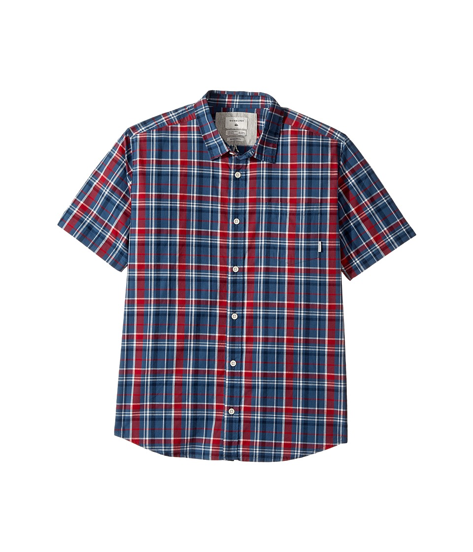 Quiksilver Kids - Everyday Check Short Sleeve Shirt (Big Kids) (Dark Denim) Boy's Short Sleeve Button Up