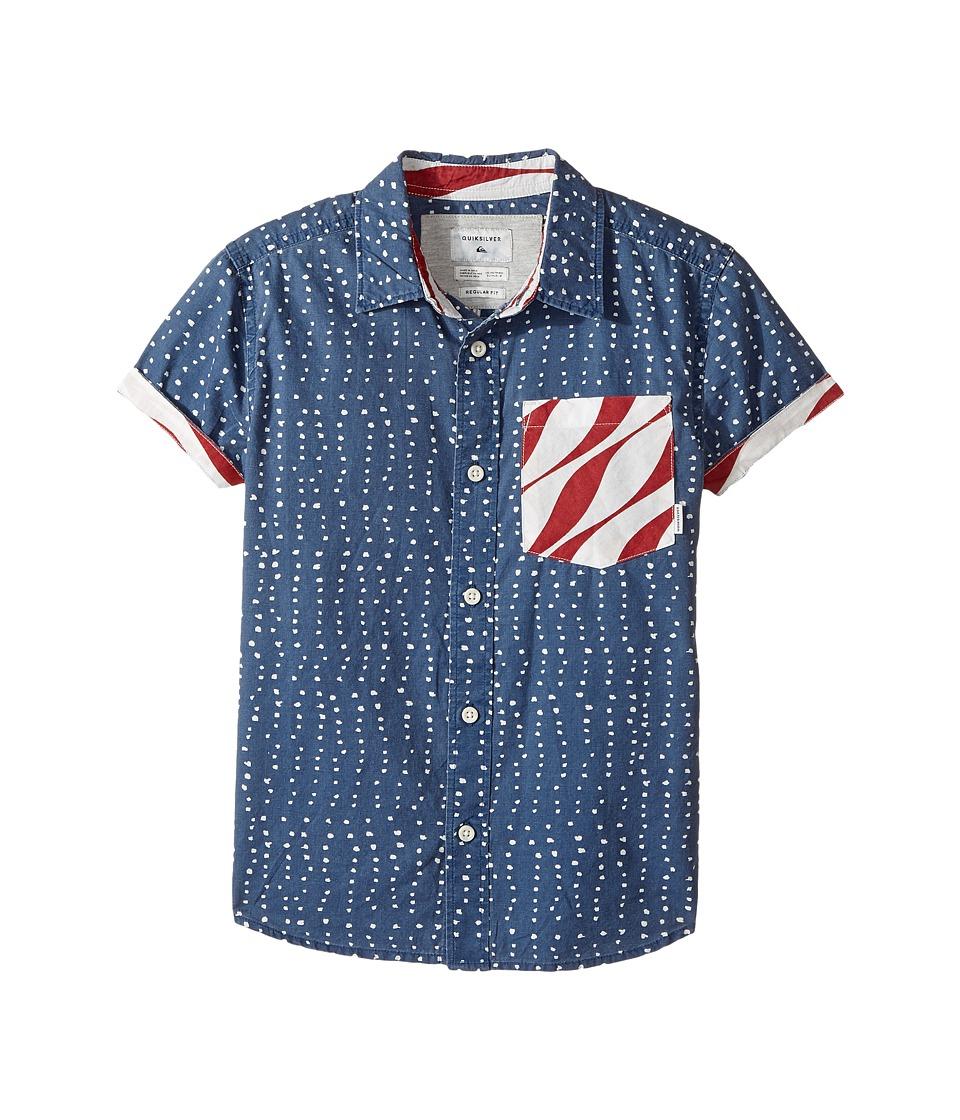 Quiksilver Kids - New Merica Short Sleeve Shirt (Big Kids) (Dark Denim Spaced Stars) Boy's Short Sleeve Button Up