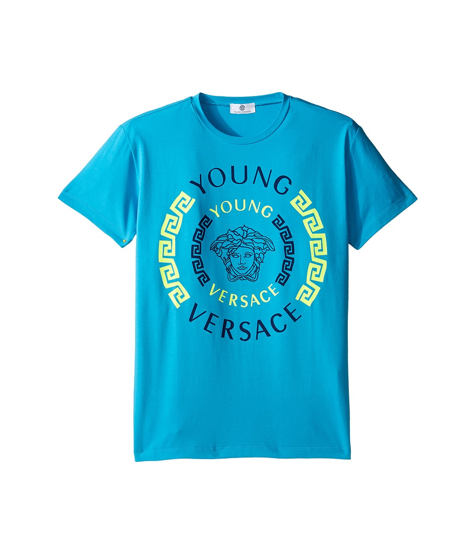 Versace Kids - Short Sleeve Contract Medusa Logo T-Shirt (Big Kids) (Turquoise) Boy's T Shirt