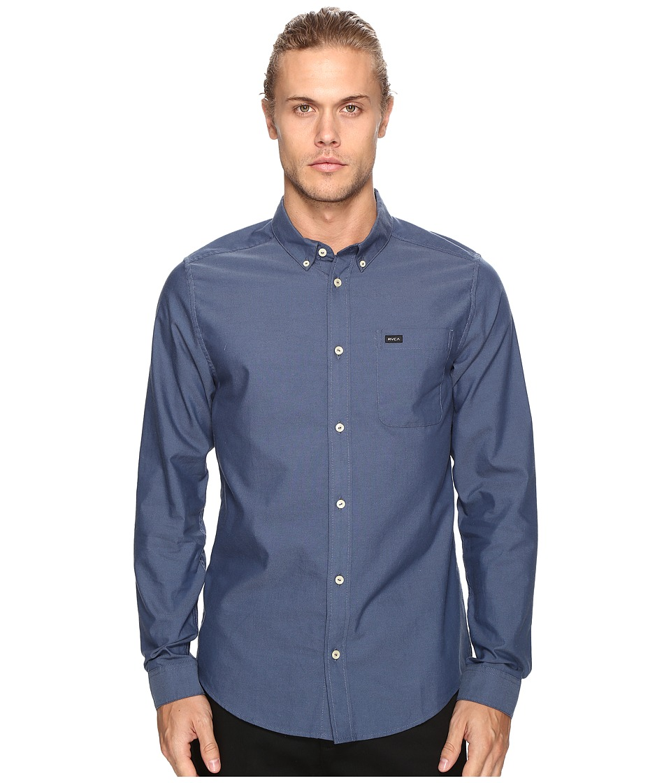 RVCA - That'll Do Oxford Long Sleeve (Blue Slate) Men's Long Sleeve Button Up