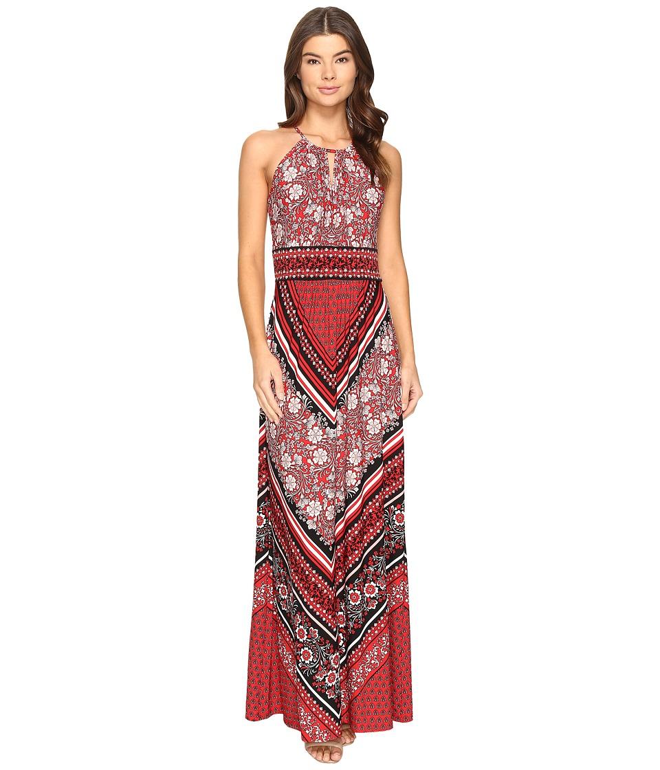 London Times Sleeveless Keyhole Halter Maxi Dress (Red Multi) Women