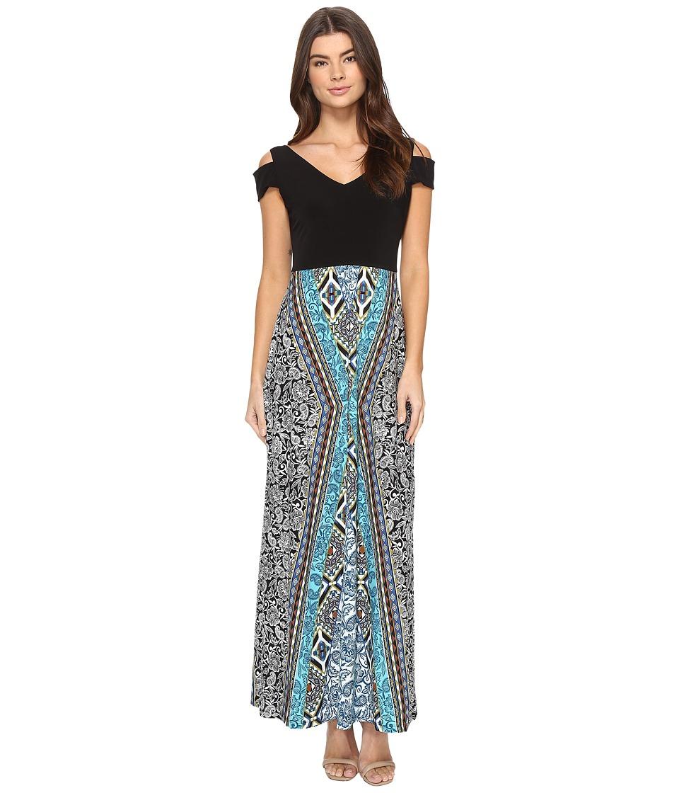 London Times - Tribal Medley Maxi Dress (Soft White/Aqua) Women's Dress