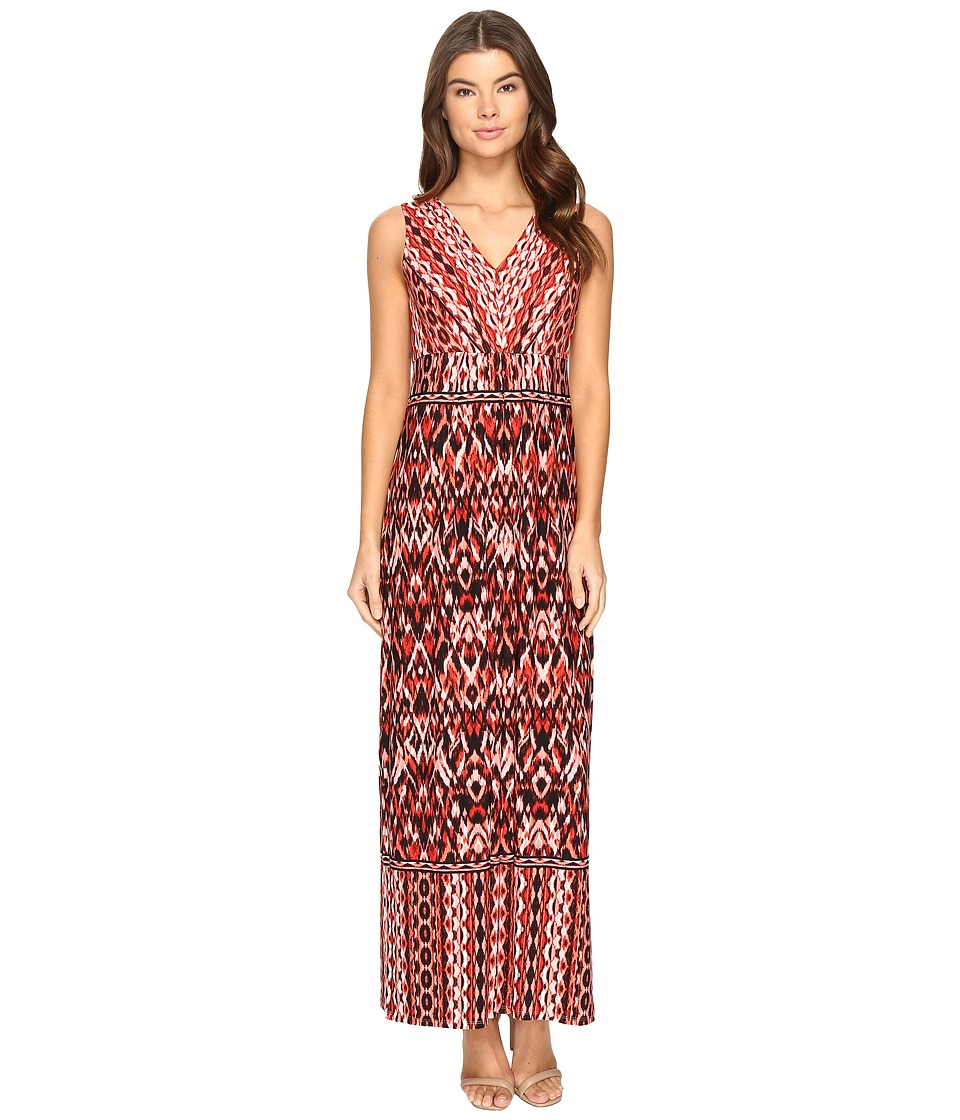 London Times Ikat Chain V-Neck Maxi Dress (Soft White/Red) Women