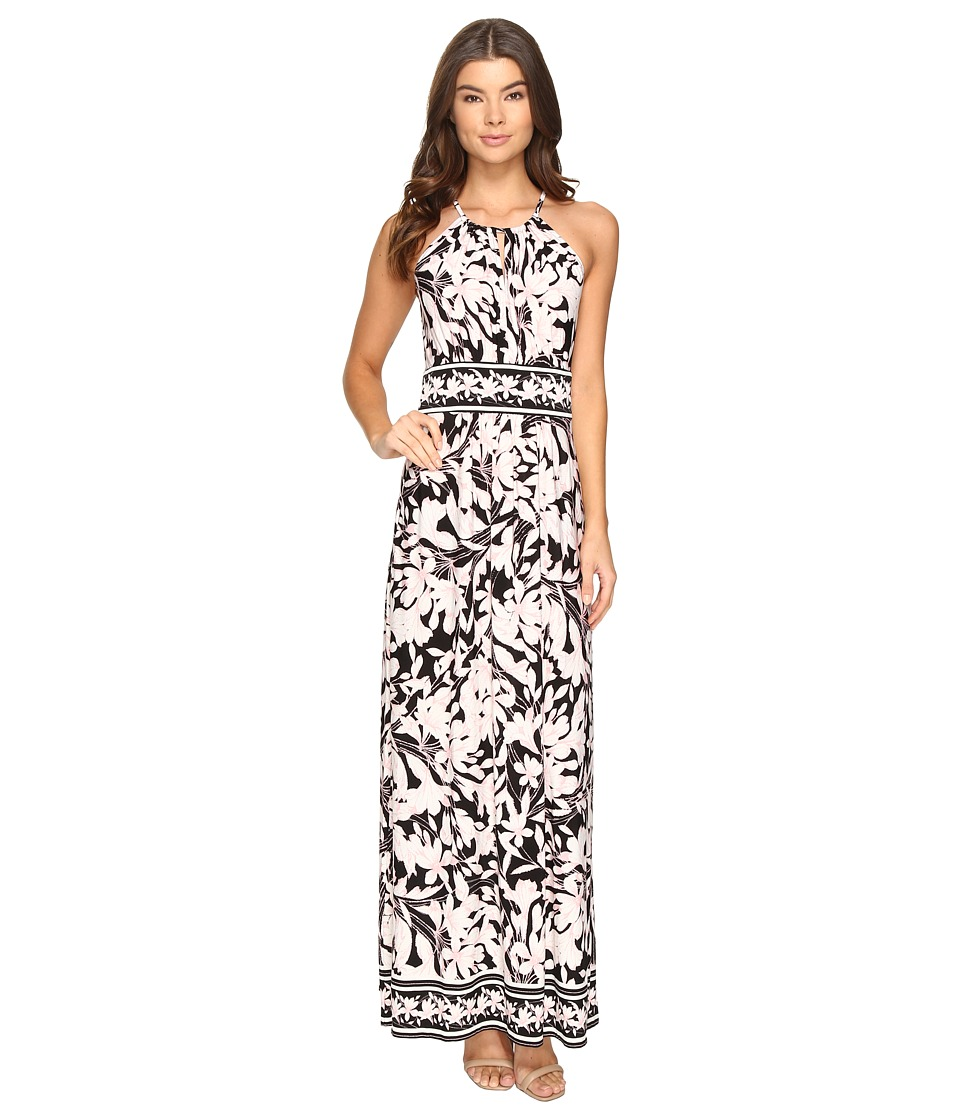 London Times - Keyhole Halter Maxi Dress (Black/Pink) Women's Dress