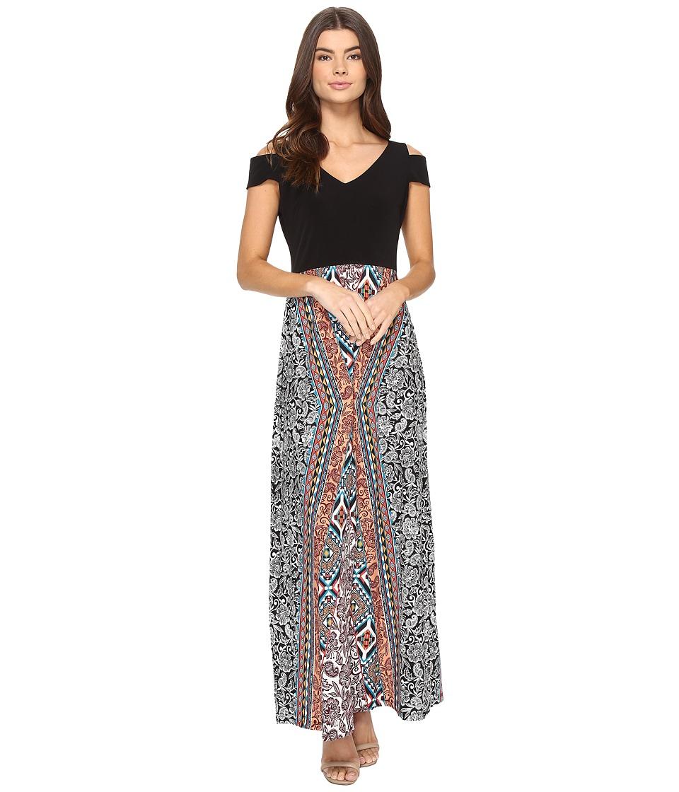London Times Tribal Medley Maxi Dress (Soft White/Coral) Women