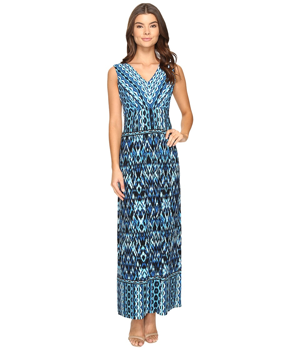 London Times Ikat Chain V-Neck Maxi Dress (Soft White/Blue) Women