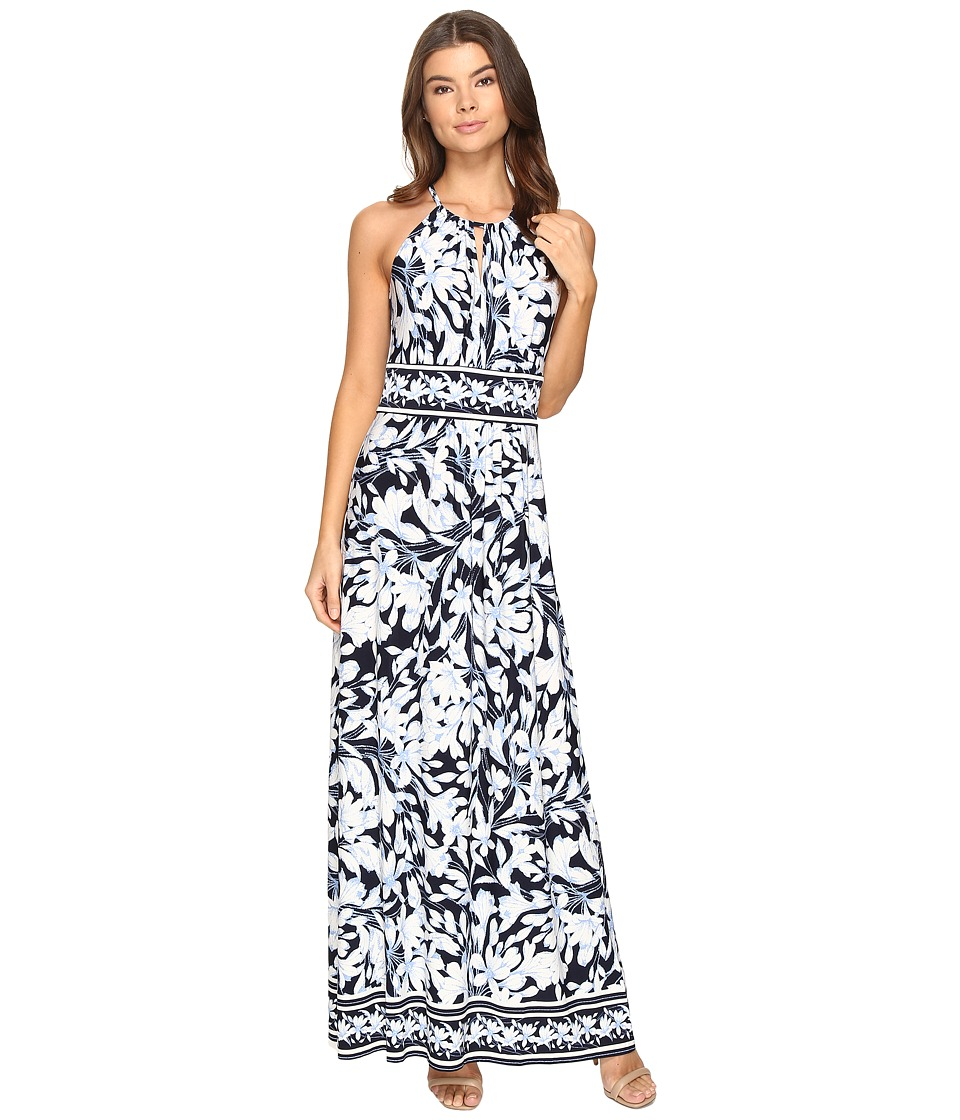 London Times Keyhole Halter Maxi Dress (Navy/Peri) Women