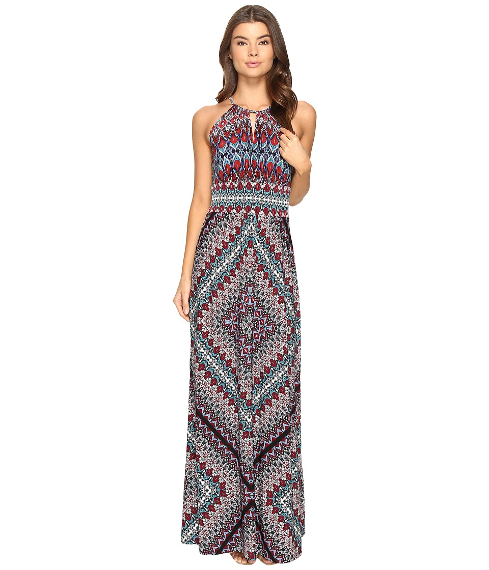 London Times - Ethnic Medallion Halter Maxi Dress (Multi) Women's Dress